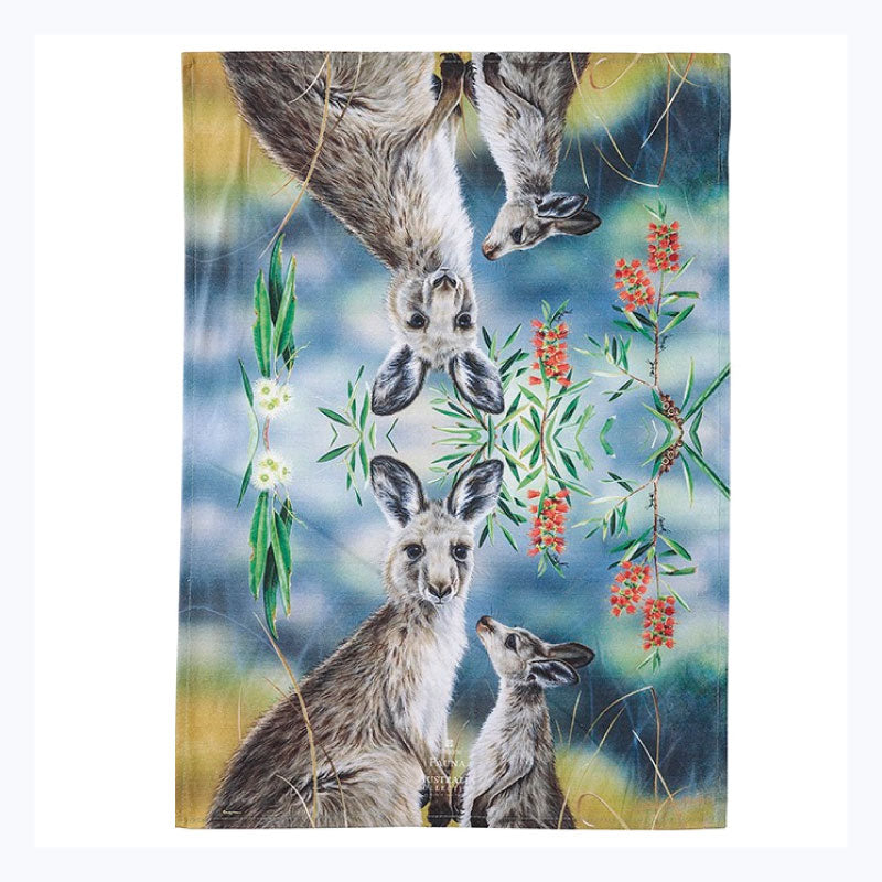 tea towel kangaroo and joey and bottlebrush