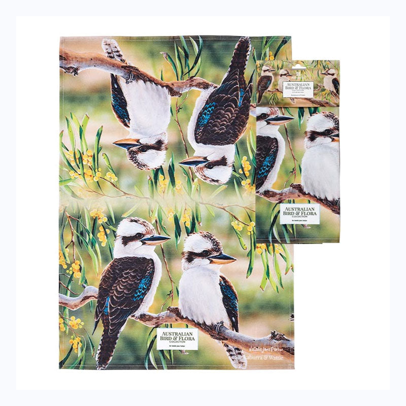 tea towel kookaburra and wattle