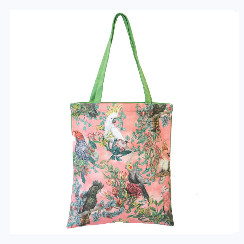 tote bag birds of australia cockatoos pink