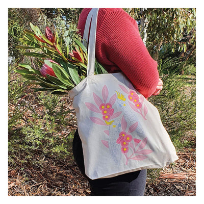 tote bag silver gum cockatoos and protea