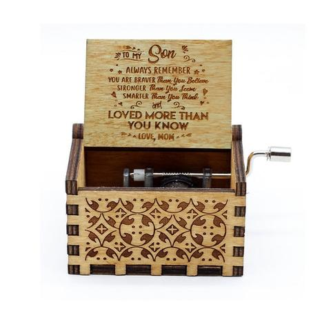 Hand Crank Wooden Music Box Mail for Son