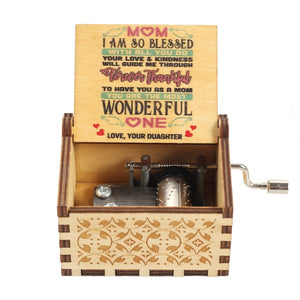 Hand Crank Wooden Music Box Mail for Mom