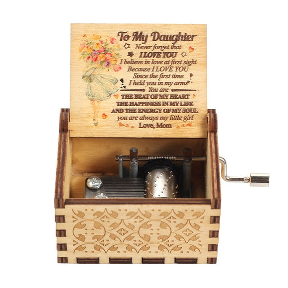 Hand Crank Wooden Music Box Mail for Daughter