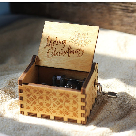 Hand Crank Wooden Music Box for Christmas or Birthdays