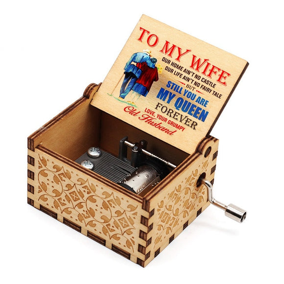 Hand Crank Wooden Music Box Mail for Wife