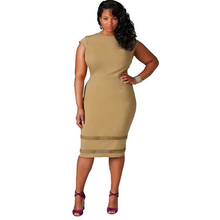 Load image into Gallery viewer, Mesh Hem Bodycon -Khaki