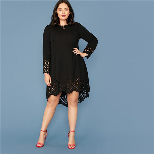 Hi-Lo Scalloped Hem Dress