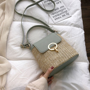 Small Straw Bucket Crossbody Bag