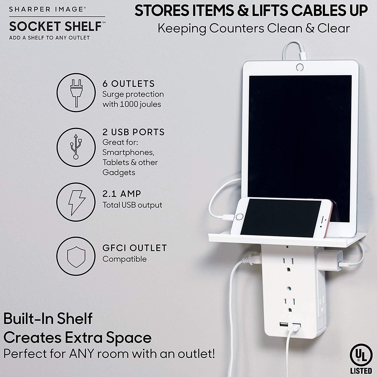 USB Charging Ports & Removable Built-In Shelf