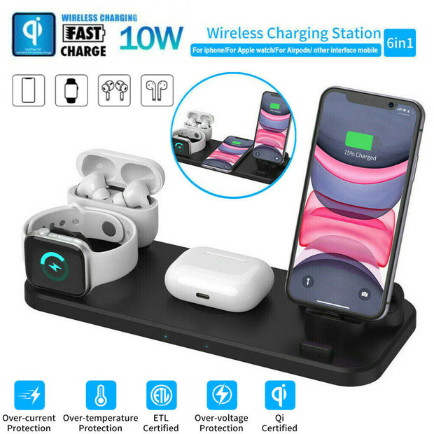 The Newest 2020 6 in 1 Wireless charger station Free Shipping.