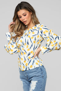 Golden Hour Floral Blouse - White/combo Angle 3