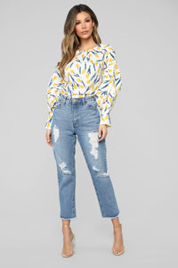 Golden Hour Floral Blouse - White/combo Angle 2