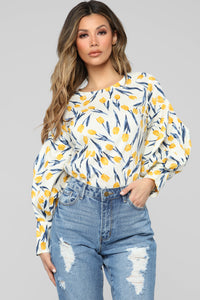 Golden Hour Floral Blouse - White/combo Angle 1
