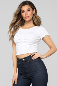 Emma Ruched Top - White