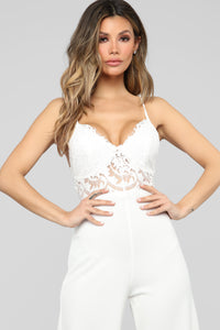 Roof Top Date Lace Jumpsuit - White