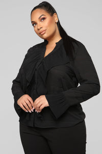 Dark Romance Ruffle Blouse - Black