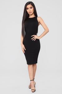 Melinda Body Sculpting Midi Dress - Black Angle 1