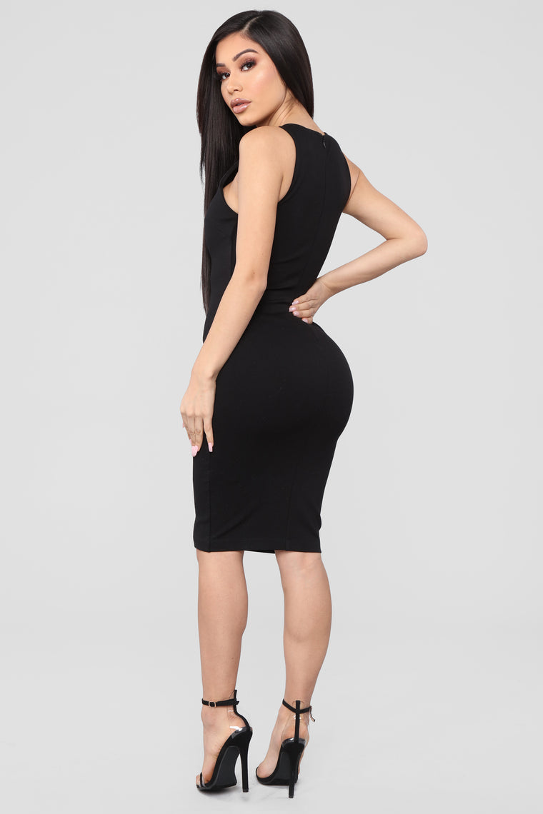Melinda Body Sculpting Midi Dress - Black