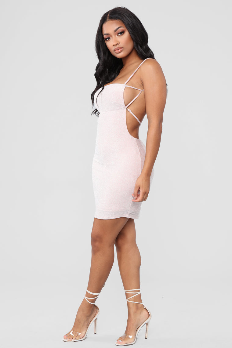 Shining On Mini Dress - Light Pink