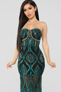 Let's Get Lost Tonight Embroidered Midi Dress - Black/Teal