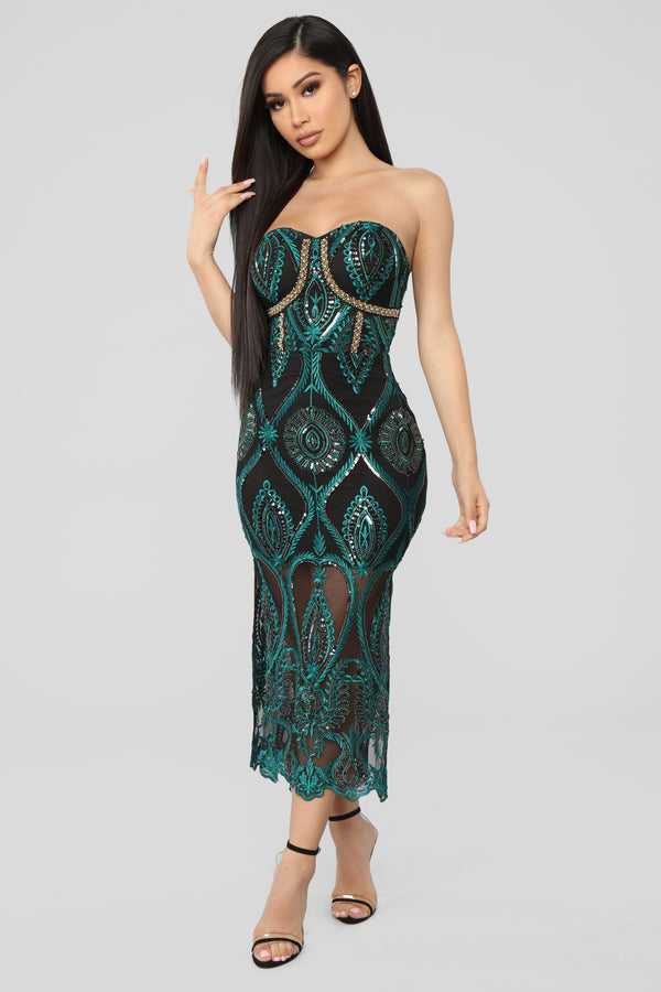 8e851ba484e4 Let s Get Lost Tonight Embroidered Midi Dress - Black Teal