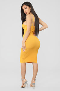 Simple Nights Ribbed Midi Dress - Mustard