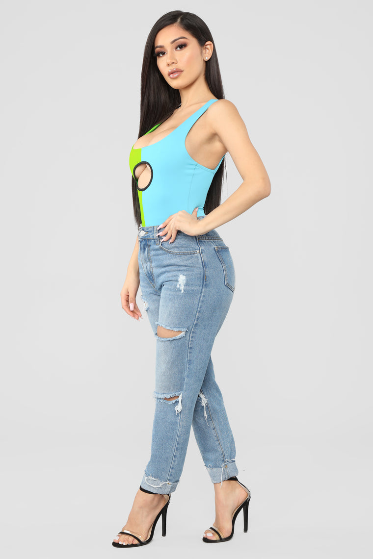 Another You Colorblock Bodysuit - Green/Combo