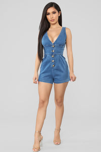 Stay In The Moment Button Up Romper - Medium Blue Wash