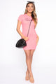 Cute But Spoiled Ribbed Mini Dress - Neon Pink