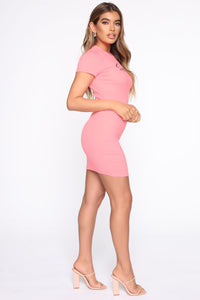 Cute But Spoiled Ribbed Mini Dress - Neon Pink Angle 3