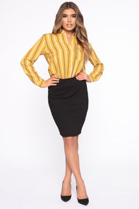 Rise And Shine Pencil Skirt - Black