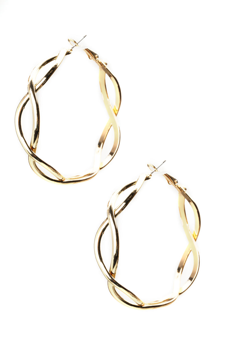 Spiraling Out Of Control Hoop Earrings - Gold
