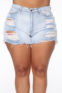 Keep In Touch Distressed Shorts - Light Wash Angle 9
