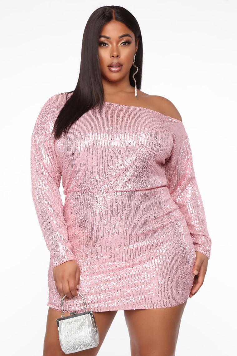 All That Shines Mini Dress - Pink