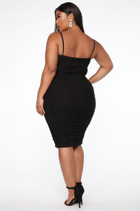 Ruched Me Into It Mesh Midi Dress - Black Angle 6