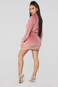 Soft Landing Velour Mini Dress - Blush