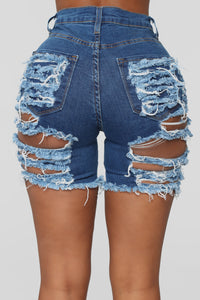 A Lot To Love Distressed Bermuda Shorts - Medium Blue Wash