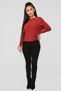 Ana Ruched Sweater - Rust