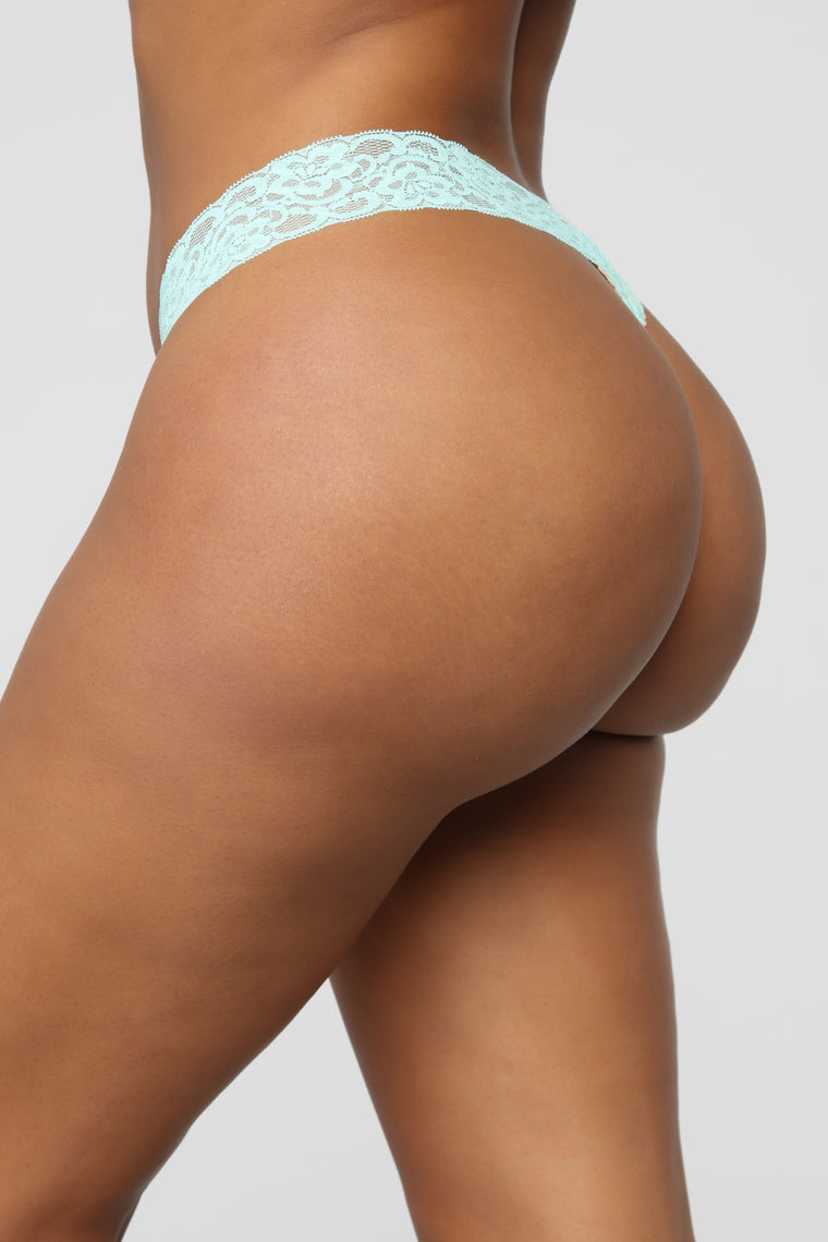 Perfect Everyday Lace Waist Thong Panty - Aqua