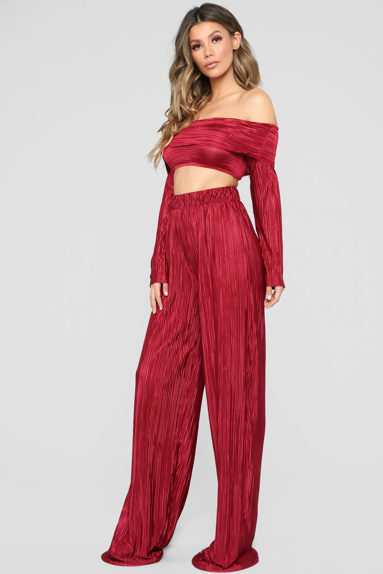 A Compleat Fit Pant Set - Burgundy