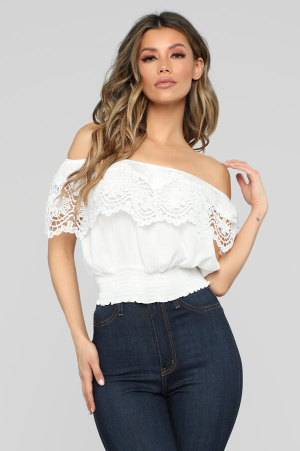 2f1d7ef239972 Staying Cute Off Shoulder Top - White
