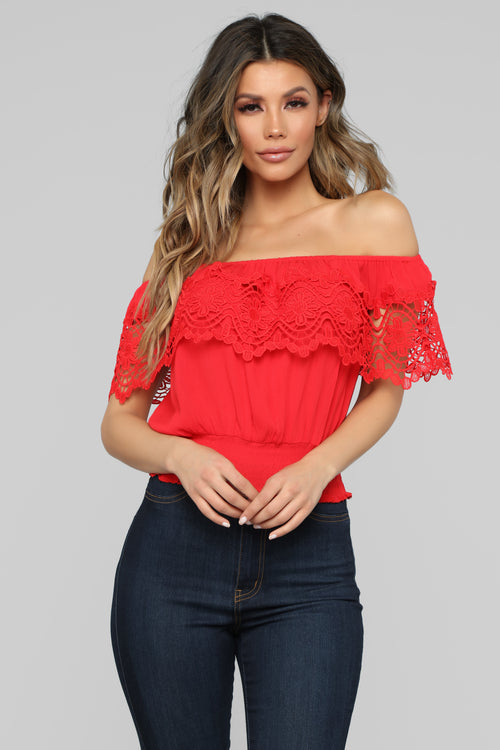 Staying Cute Off Shoulder Top - Red
