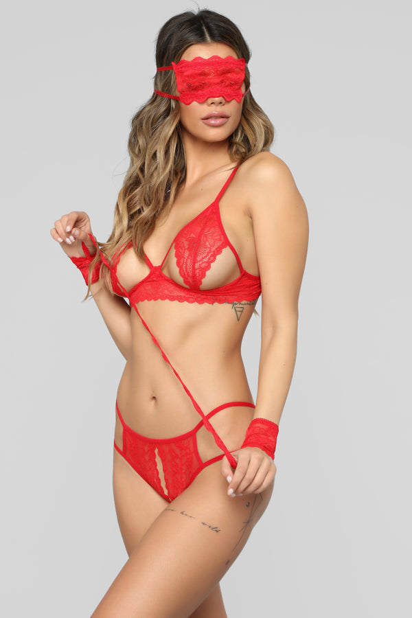 4ab805e5fb Call Out My Name Lace 4 Piece Set - Red