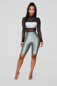 Reflective Mesh Bodysuit - Black