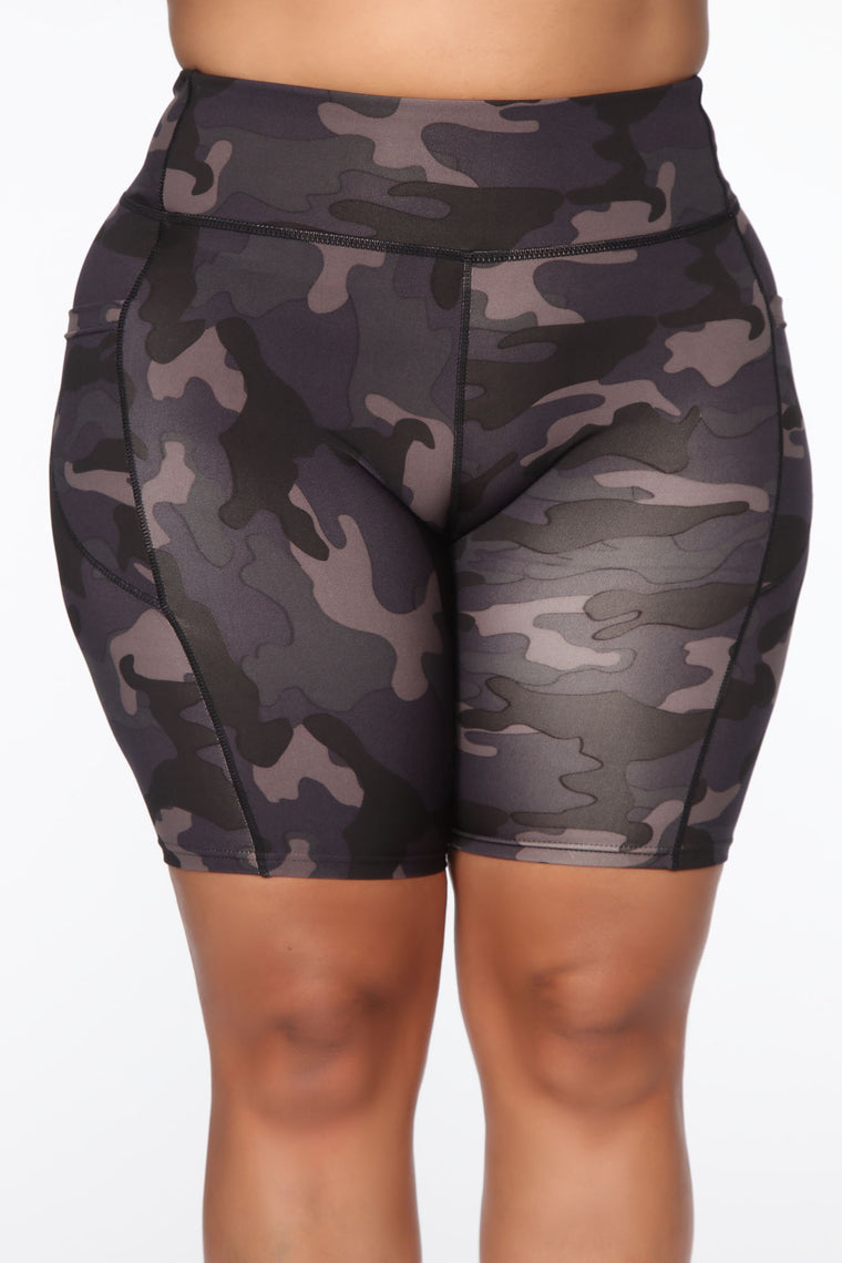 I Need A Soldier Active Biker Short - Grey