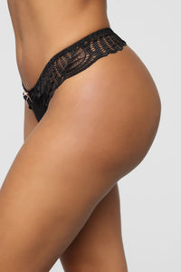 Sweet As Can Be Lace Tanga Panty - Black