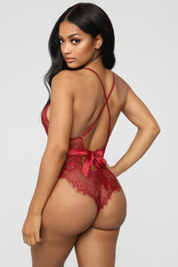 Provocative Vixen Lace Teddy - Deep Red