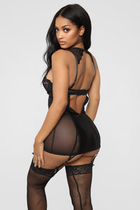You Know The Drill Chemise 2 Piece Set - Black