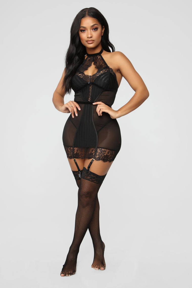 Sneak Over Tonight Chemise 2 Piece Set - Black
