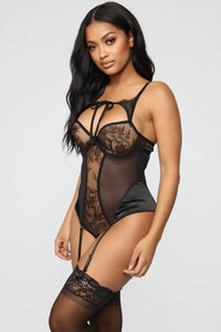 Keys To Your Heart Lace Teddy - Black Angle 3